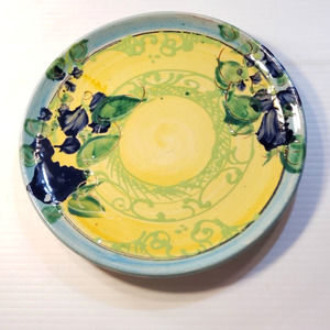 Vintage Hand Painted Pottery Clay Plate Floral
